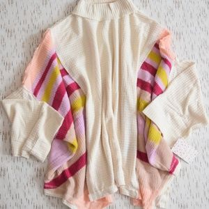 Free People Soft Sleeve Striped Poncho